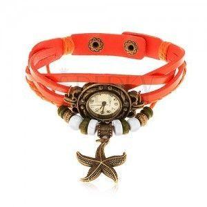 Zegarek analogowy, ozdobne wycięcia, pleciony pasek pomarańczowego koloru obraz