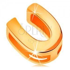 Lśniąca zawieszka z żółtego 14K złota, drukowana litera U, gładka powierzchnia obraz