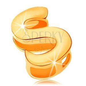Zawieszka z żółtego złota 585, drukowana litera S, lustrzany połysk obraz