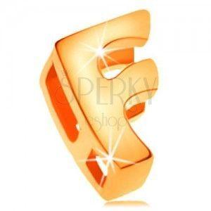 Zawieszka z żółtego 14K złota, drukowana litera F, lustrzany połysk obraz