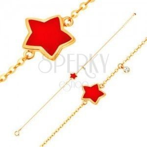 Złota bransoletka 585 z zawieszkami - gwiazda z czerwoną emalią, przezroczysta cyrkonia obraz