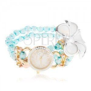 Zegarek z bransoletką z niebieskich koralików, cyferblat z cyrkoniami, biały kwiat obraz