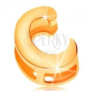 Złota zawieszka 585 o lśniącej i gładkiej powierzchni - drukowana litera C obraz