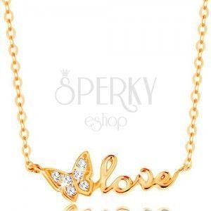Błyszczący złoty naszyjnik 585 - łańcuszek z owalnych ogniw, motylek i napis LOVE obraz