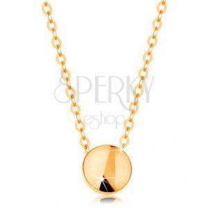 Naszyjnik z żółtego złota 585 - lśniące koło, łańcuszek z owalnych ogniw obraz