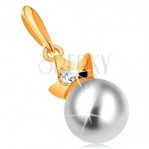 Zawieszka z żółtego 14K złota - okrągła biała perła z koroną obraz