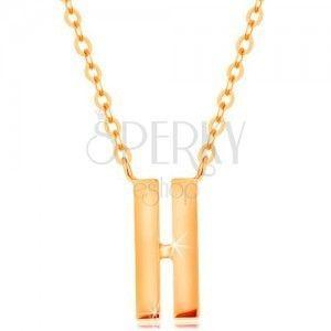 Naszyjnik z żółtego 14K złota - dwa wąskie paseczki o gładkiej i lśniącej powierzchni obraz