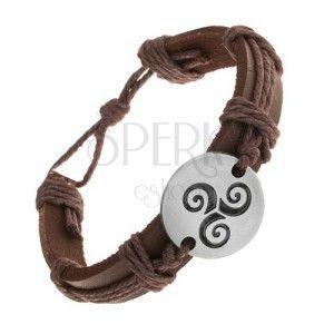 Brązowa bransoletka z syntetycznej skóry i sznurków, koło z czarną spiralą Tribal obraz