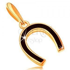 Zawieszka z żółtego 14K złota - podkowa pokryta lśniącą czarną emalią obraz