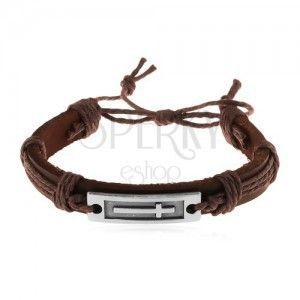 Skórzana bransoletka ze sznurków, brązowy odcień, lśniąca stalowa płytka z krzyżem obraz