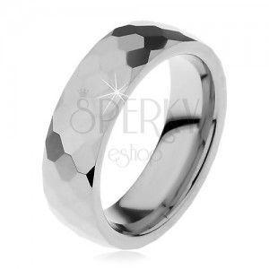 Wolframowa obrączka srebrnego koloru, oszlifowane lśniące sześciokąty, 6 mm obraz