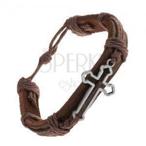 Skórzana bransoletka ciemnobrązowego koloru, zarys koniczynowego krzyża, sznurki obraz
