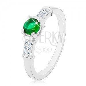 Zaręczynowy pierścionek, srebro 925, cyrkoniowe ramiona, okrągła zielona cyrkonia obraz