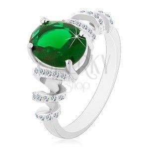 Zaręczynowy rodowany pierścionek, srebro 925, owalna zielona cyrkonia, błyszczące spirale obraz