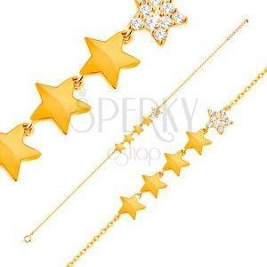 Złota 14K bransoletka - linia pięciu gwiazdeczek, łańcuszek z owalnych ogniw, 180 mm obraz