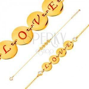 Bransoletka z żółtego 14K złota - cztery lśniące kółka z napisem LOVE, cyrkonie, 185 mm obraz
