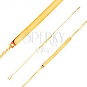 Bransoletka z żółtego 14K złota - lśniący wąski pas, łańcuszek z owalnych ogniw, 185 mm obraz