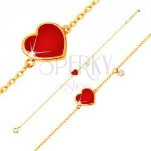 Złota 14K bransoletka - czerwone emaliowane serce i bezbarwna cyrkonia, cienki łańcuszek, 180 mm obraz