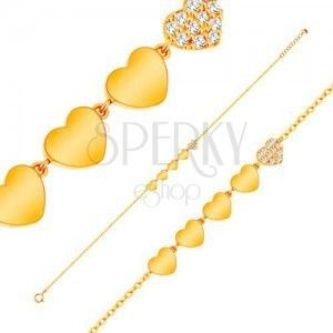 Błyszcząca złota 14K bransoletka - linia pięciu serduszek, łańcuszek z owalnych ogniw obraz