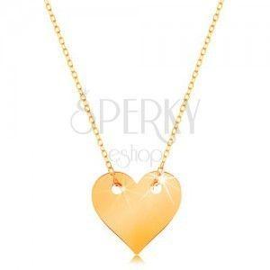 Naszyjnik z żółtego 585 złota - małe symetryczne płaskie serce, subtelny łańcuszek obraz