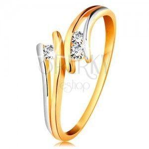 Diamentowy złoty pierścionek 585, trzy błyszczące przezroczyste brylanty, rozdzielone dwukolorowe ramiona obraz