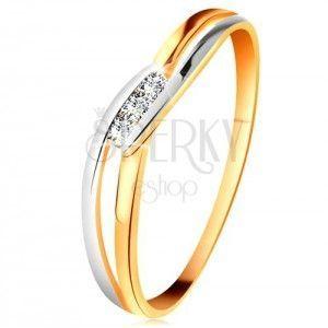 Diamentowy pierścionek z 14K złota, trzy bezbarwne brylanty, rozdzielone faliste ramiona obraz