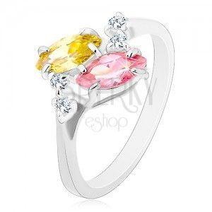 Pierścionek w srebrnym odcieniu, różowe i żółte cyrkoniowe ziarenka, bezbarwne cyrkonie obraz
