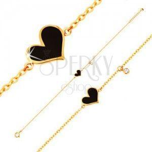 Bransoletka z żółtego 14K złota - czarne asymetryczne serce i bezbarwna cyrkonia, łańcuszek obraz