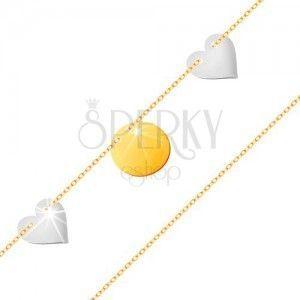 Złota bransoletka 585 - cienki łańcuszek, lśniące płaskie kółko, dwa serca z białego złota obraz