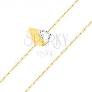 Złota 585 bransoletka - cienki łańcuszek, dwukolorowa płaska łza z wycięciem obraz