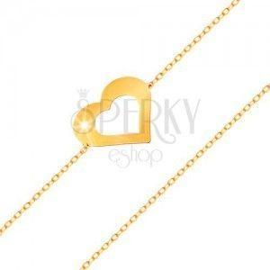 Bransoletka z żółtego 585 złota - subtelny łańcuszek, płaski zarys serca, lśniąca gładka powierzchnia obraz