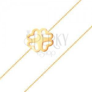 Bransoletka z żółtego złota 585 - cienki łańcuszek, powycinana czterolistna koniczynka obraz