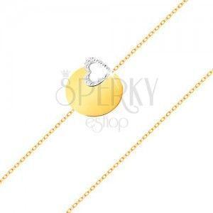 Złota 585 bransoletka - subtelny łańcuszek, lśniące płaskie kółko, kontur serca z białego złota obraz