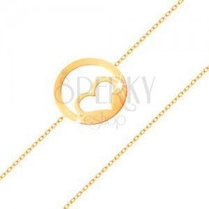 Złota bransoletka 585 - kontur symetrycznego serca w obręczy, wysoki połysk obraz