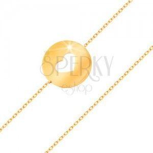 Złota 585 bransoletka - kółko z serduszkowym wycięciem o płaskiej lśniącej powierzchni obraz