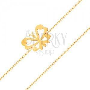 Bransoletka z żółtego 585 złota - subtelny łańcuszek, płaski motylek z wyciętymi skrzydłami obraz