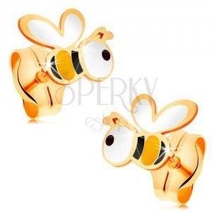 Złote kolczyki 585 - pszczółki z kolorową emalią, wkręty obraz