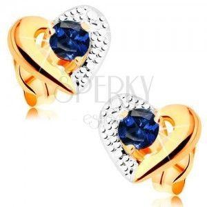 Złote kolczyki 585 - dwukolorowy zarys serca, grawer, niebieski szafir obraz