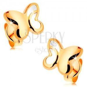 Złote 14K kolczyki - lśniący motyl z wyciętą częścią na skrzydłach obraz