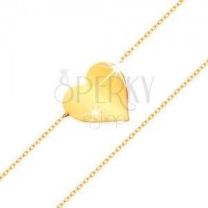 Bransoletka z żółtego 14K złota - lśniące płaskie serce, błyszczący cienki łańcuszek obraz