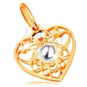 Zawieszka z żółtego złota 585 - serce ozdobione zarysami serduszek z białą perłą w środku obraz
