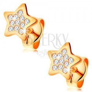 Kolczyki z żółtego 14K złota - gwiazdeczka ozdobiona bezbarwnymi okrągłymi cyrkoniami obraz