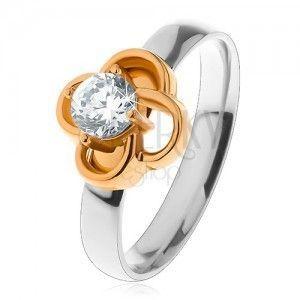 Stalowy pierścionek w srebrnym odcieniu, kwiatek złotego koloru z bezbarwną cyrkonią obraz