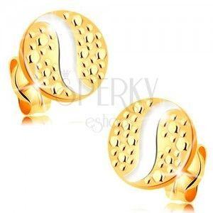 Złote 14K kolczyki - kółka w kropki i fala z białego złota, wkręty obraz