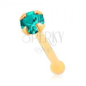 Złoty 585 piercing do nosa, prosty - błyszcząca cyrkonia w kolorze akwamarynu, 1, 5 mm obraz
