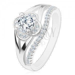 Zaręczynowy pierścionek, srebro 925, bezbarwny cyrkoniowy kwiatek i linia drobnych cyrkonii obraz