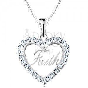 Srebrny 925 naszyjnik, cyrkoniowy zarys serca, napis Faith, cienki łańcuszek obraz