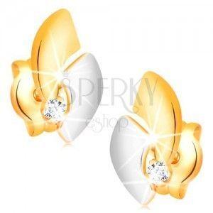 Złote 14K kolczyki z błyszczącym diamentem, dwukolorowe łuki, wkręty obraz
