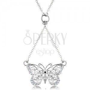 Srebrny 925 naszyjnik, łańcuszek i zawieszka - powycinany motylek obraz