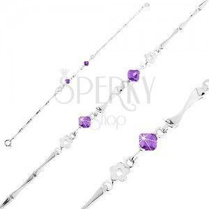 Srebrna 925 bransoletka, kwiatki, fioletowe cyrkonie i lśniące ogniwa obraz